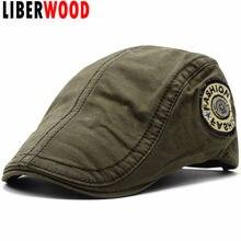 LIBERWOOD 2018 moda boinas de algodón hombres Casual para el verano bordado  boinas estilo británico gorras casquillo enarbolado . 4adadc49689