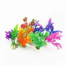 10Pcs/lot Plastic Aquarium Plants Plantas Artificiales Decorative Fish Plant Accessories Aquario Ornament Decor Landscape