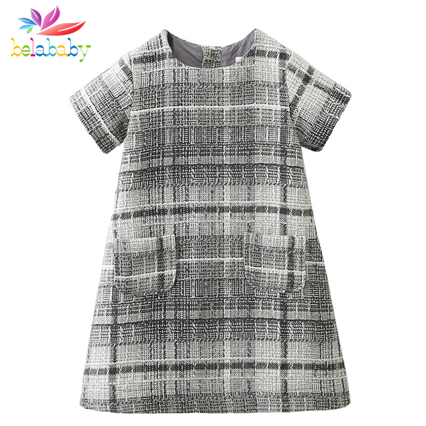 Belababy Girls Dress Baby Fashion Plaid Cotton Dresses Autumn New Knitting Pockets Kids Dresses For Girl Robe Princesse Fille fashion cotton girls dress stripe belt 2pcs kids dresses for girls black long new year costumes for kids for2 7t baby girl