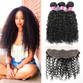 Mongolian Kinky Curly Virgin hair with Closure Human Hair with Closure Lace Frontal Closure with Bundles Curly Hair with Closure