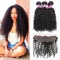 Mongolian Kinky Curly Virgin hair with Closure Human Hair with Closure Lace Frontal Closure with Bundles Curly Hair with Closure