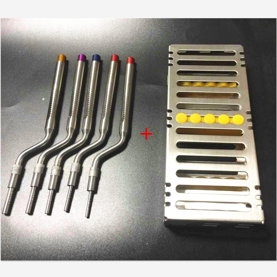 Instruments d'ostéotome d'implant dentaire ascenseur de Sinus plié avec le cas de Cassette (bouts concaves) ensemble de 5 pièces