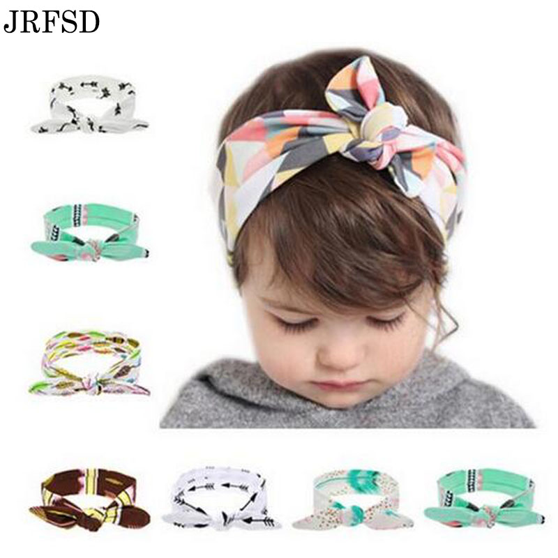 JRFSD kids Flower Floral Girls Headband Turban Rabbit Bow knot Hairbands  Headwear Elastic Hair Bands Hair Accessories For Girls bebe girls flower headband four felt rose flowers head band elastic hairbands rainbow headwear hair accessories