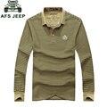 Ropa de marca ropa de 2017 del otoño de los hombres ocasionales de polo camisas a rayas verde del ejército de color caqui de manga larga camisa de algodón tops tees ropa