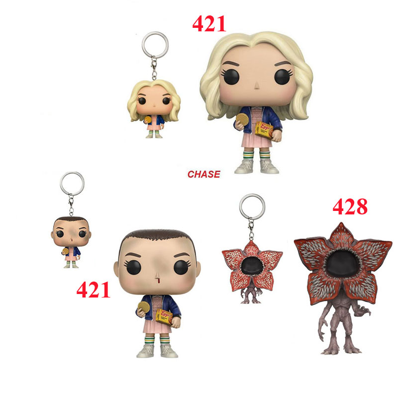 Stranger Things Television Action Figure Eleven with Eggos Chase Demogorgan keychains Collectible Model Toys Gift key chains stranger shores