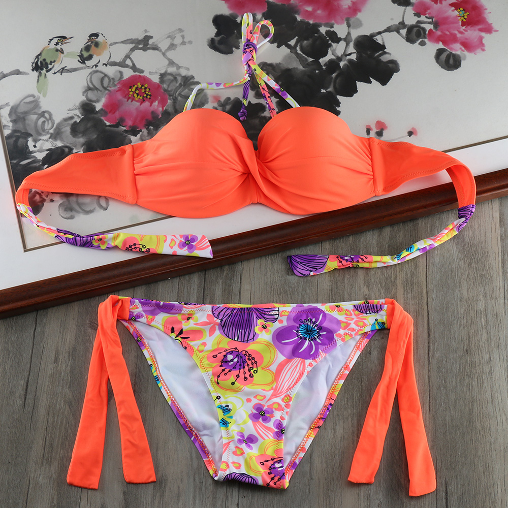 2019 Women Push Up Bikini Set Summer Strappy Bandage Swimwear Sexy Brazilian Swimsuit Beach Monokini Bathing Swimming Suit E667