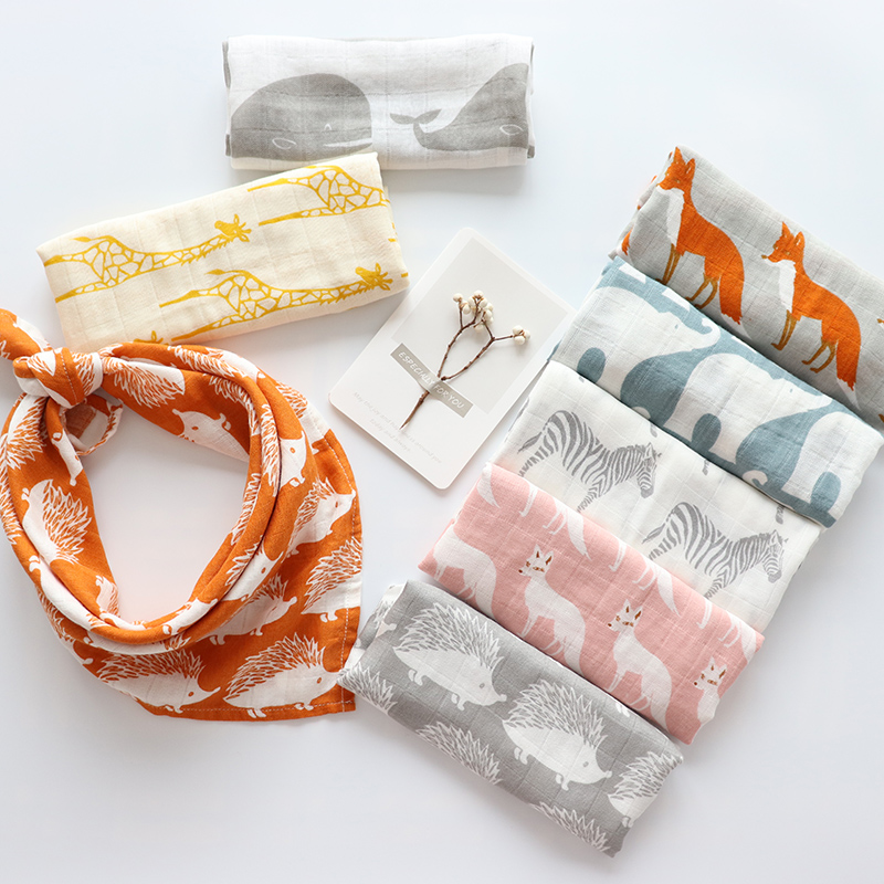 Baby Soothing Towel Super Soft Muslin Bath Towel For Newborns Multi Use Baby Bib Burp Cloth Kid Scarf Handkerchief 60x60cm 2Pcs