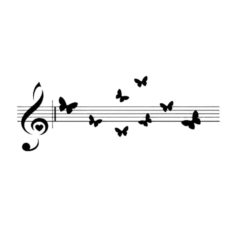18.8cm*7cm Music Notes Beautiful Butterflies Decor Vinyl Car Sticker Black/Silver S3-5966