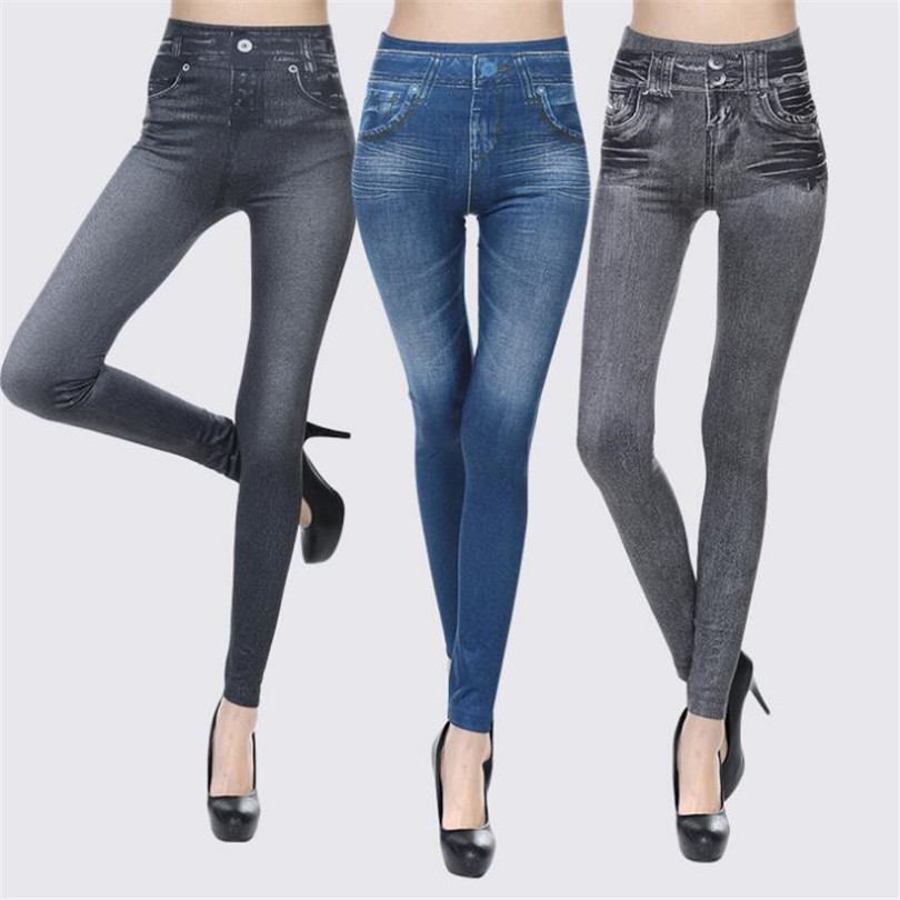 Sexy Legging Push Up Faux Denim Jeans Slim Women High Waist Trousers Casual Female Pants Blue Plus Size Leggins