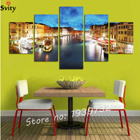 למכור חם 5 pieces תמונות אמנות קיר תמונה מודפסת עיר רמת אור הלילה לצד אגם קישוט בית בד ציור