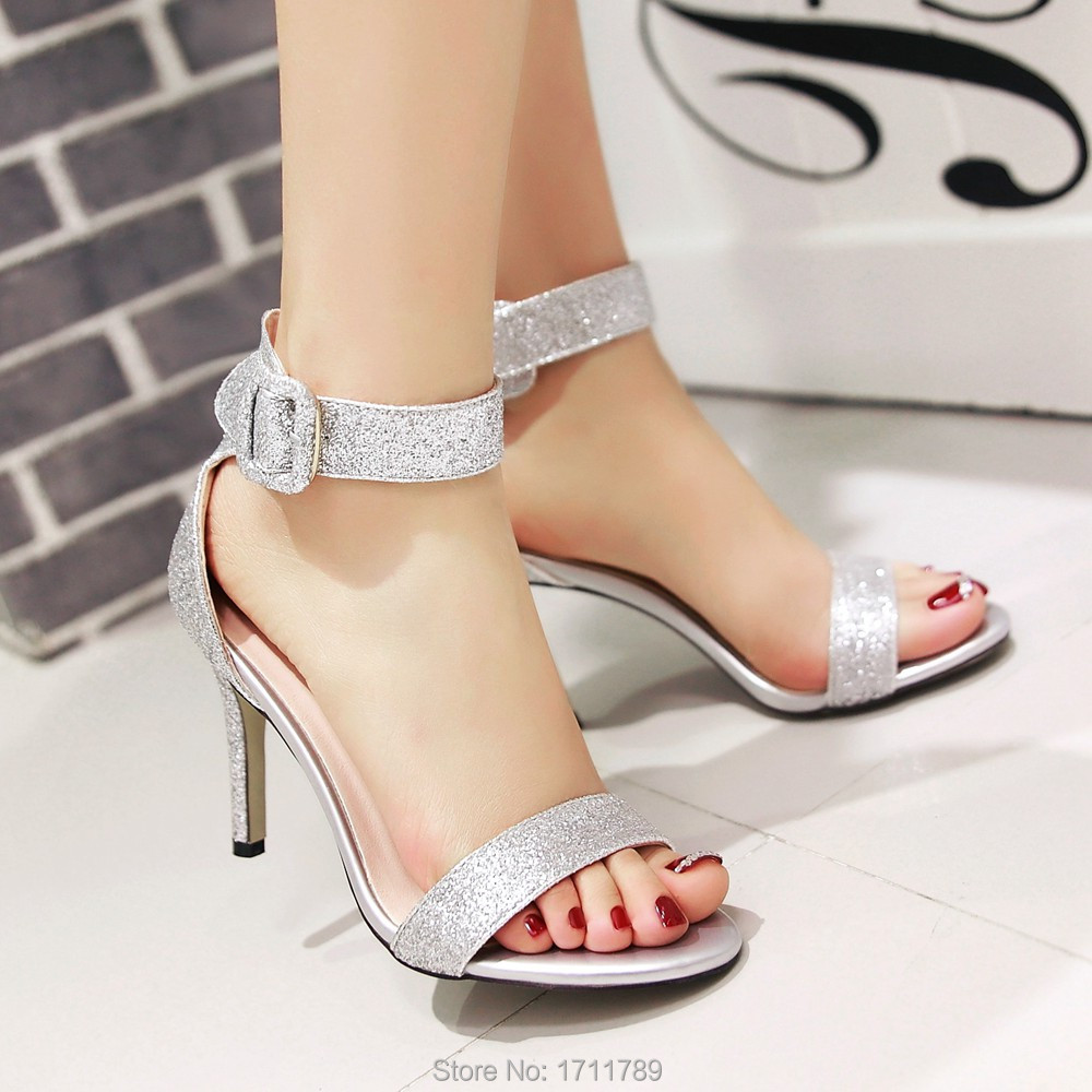 Women's sandals with bling - New Arrival Fashion Summer Shoes Women Sandals Thin High Heels Ankle Strap Sandals Wedding Shoes Big