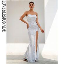 Love Lemonade Silver Tube Top Cut Out Fish Tail Shaped Elastic Sequin  Material Long Dress LM1052 f4e008edf46f