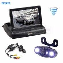 DIYKIT Wireless 4.3 Inch Car Reversing Camera Kit Back Up Car Monitor LCD Display HD LED Night Vision Car Rear View Camera
