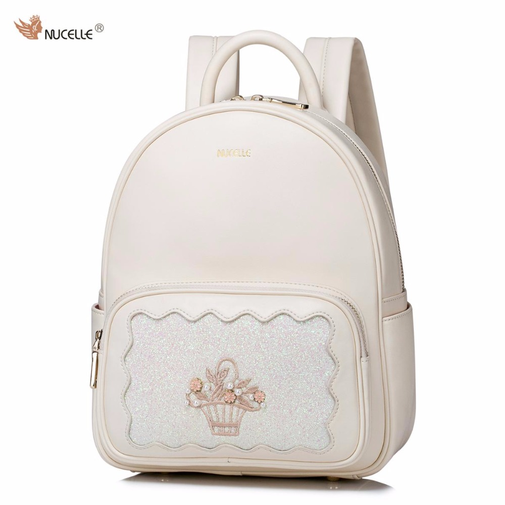 2017 Spring New NUCELLE Brand Design Fashion Pearls PU Women Leather Ladies Girls Feminine Backpack School Travel Shoulders Bags 2017 new brand ballet girl embroidery drawstring pu women leather ladies backpack shoulders school travel bags student daypack