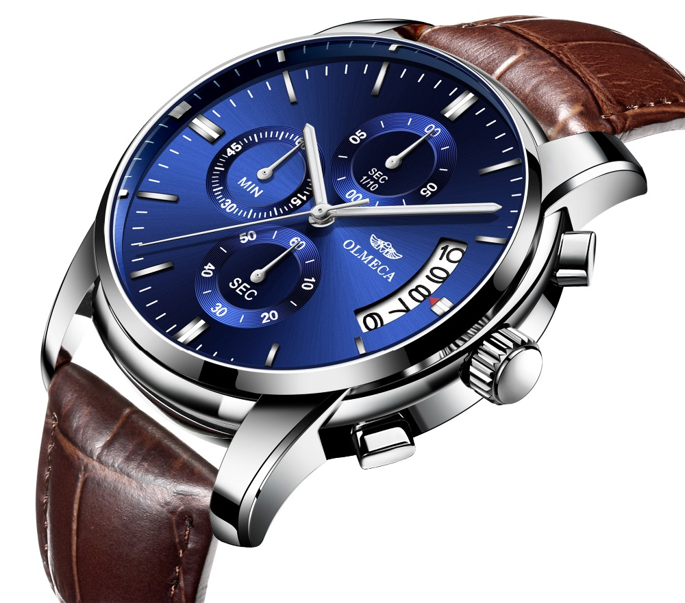 51f35bb9f Reloje OLMECA Men Watch Male Blue Dial Brown Leather Band Date Quartz  Watches Mens Waterproof Sport Clock Relogio Masculino New-in Quartz Watches  from ...
