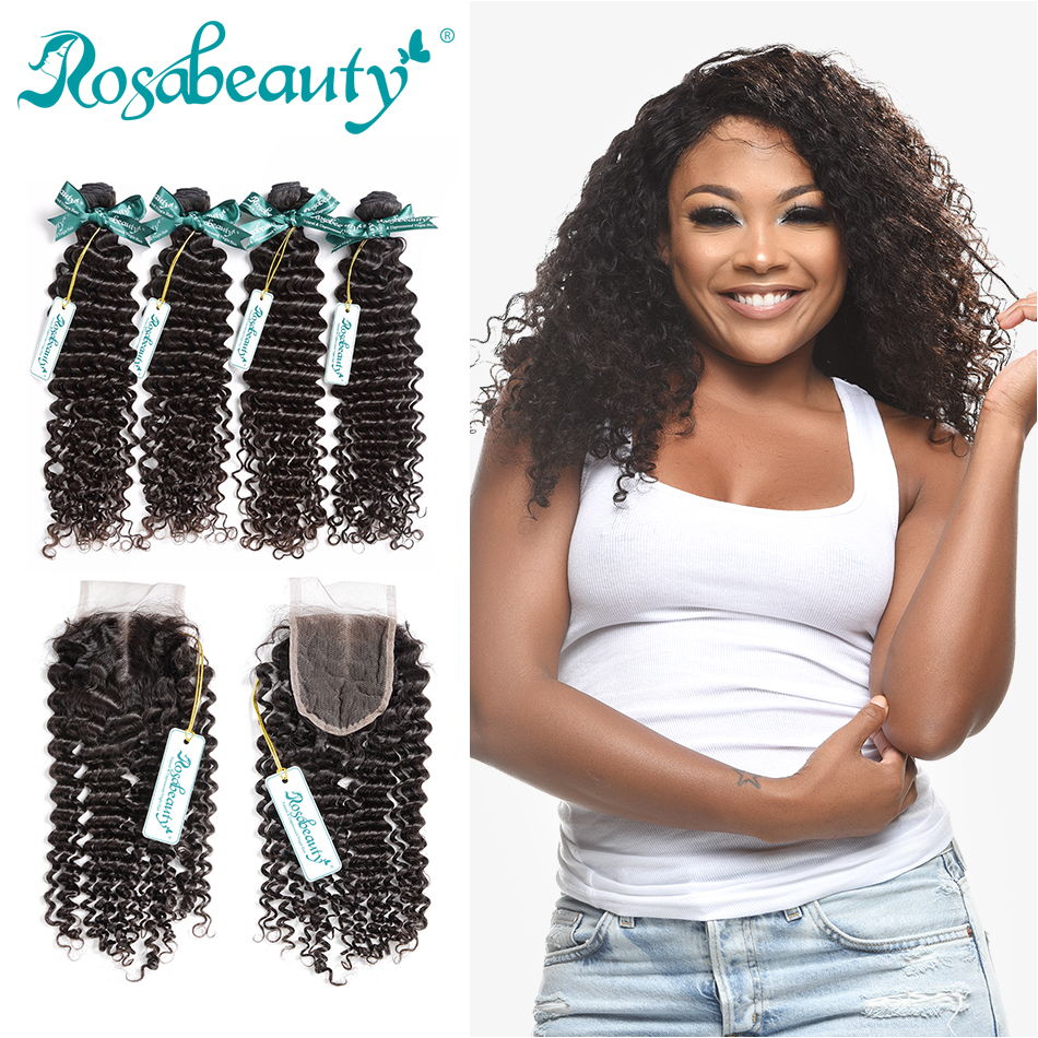 RosaBeauty 8A Brazilian Deep Wave 4 Bundles With Closure Frontal Curly Hair Weave Bundles With Lace Closure Remy Hair Extensions
