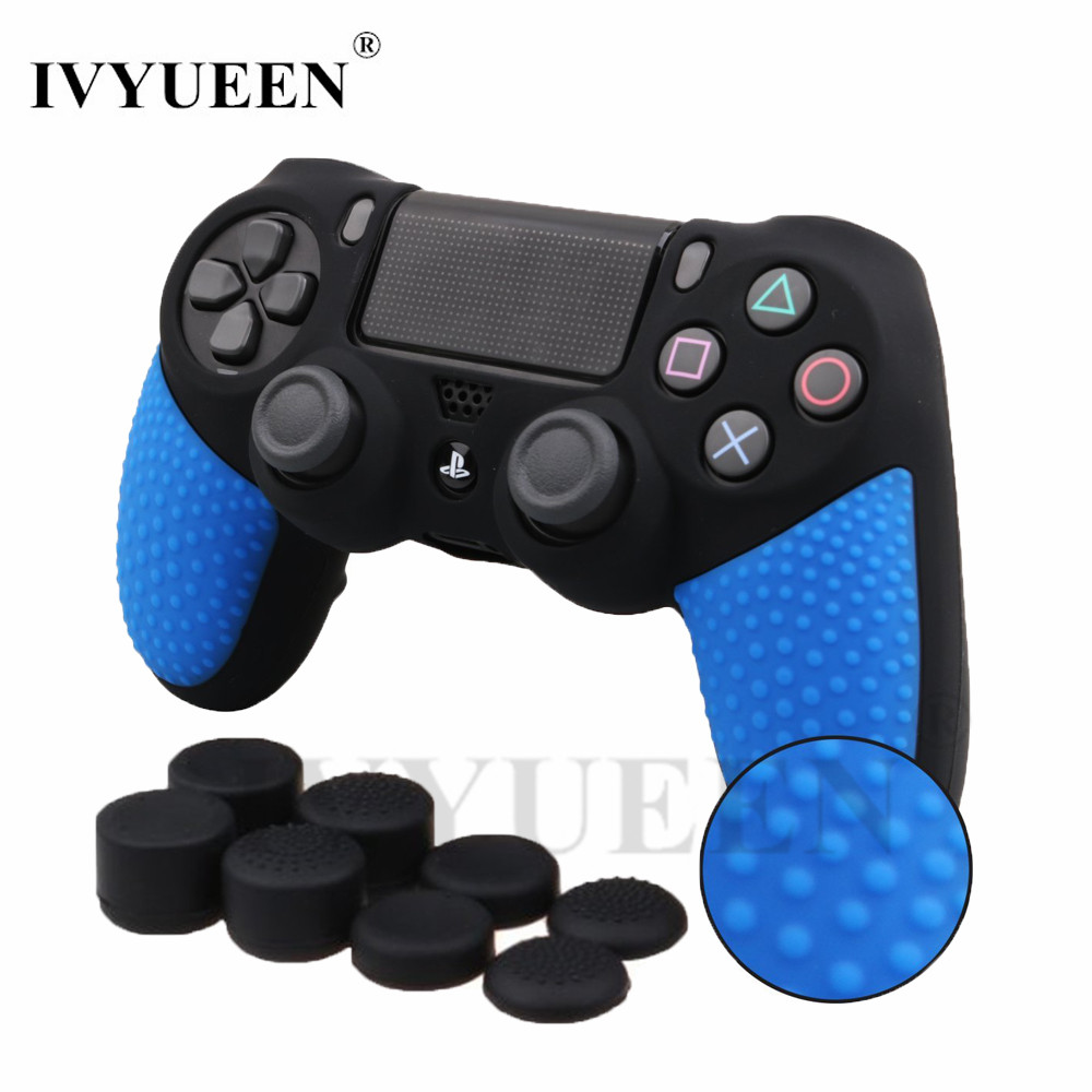 IVYUEEN 9 in 1 Studded Anti-slip Silicone Controller Case for Sony Dualshock 4 PS4 DS4 Pro Slim Gamepad Skin Stick Caps Cover