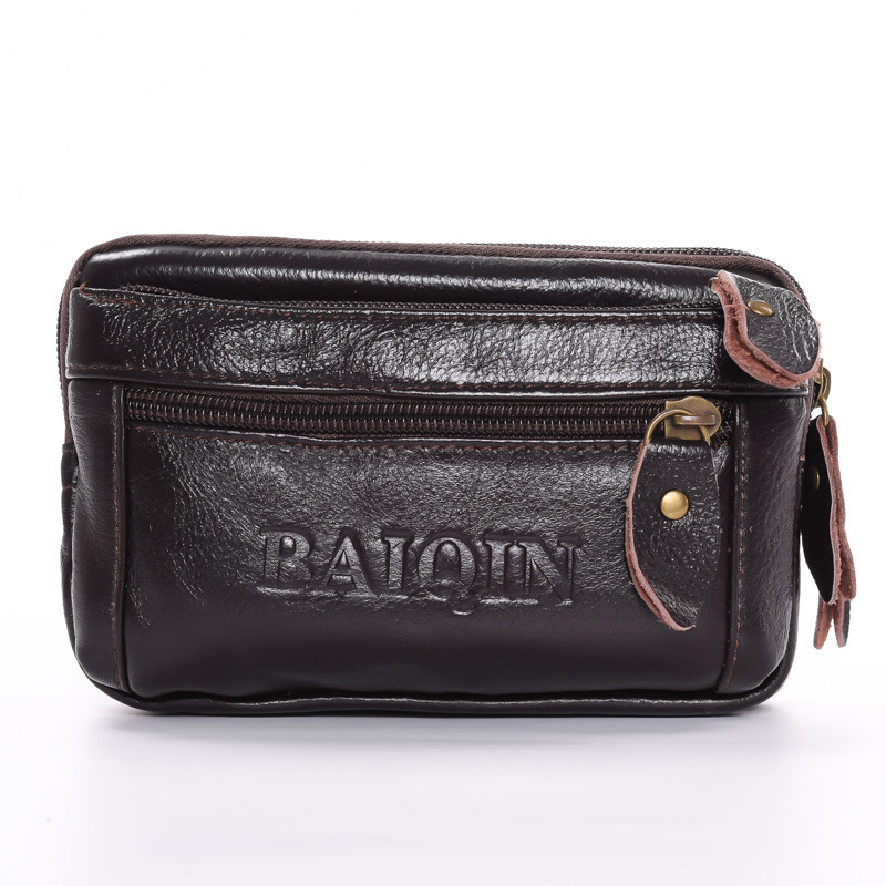 BISI GORO Multi-function Outdoor Fanny Pack Men And Women Belt Bags Waist Pack Cow Genuine Leather Phone Coin Card Waist Bag
