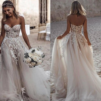 Classic A Line Sexy Wedding Dresses Backless Sweetheart Summer Beach Wedding Gowns Appliqued Boho Bride Dress Vestidos