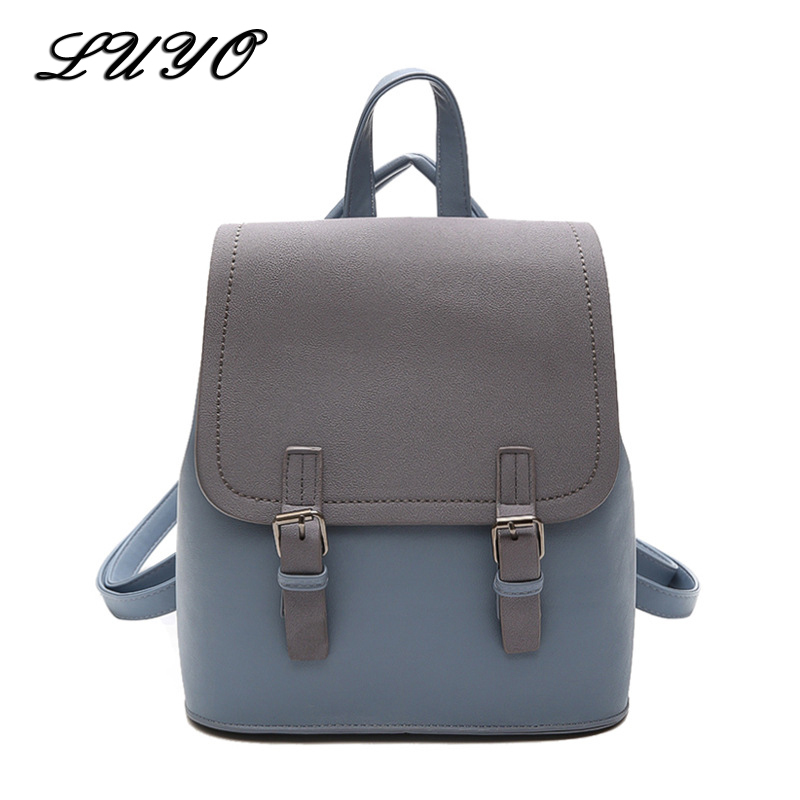 Luyo Leather Fashion Vintage Designer Backpack Schoolbag Teenage Backpacks For Girls Women School Sac A Dos Bagpack Travel Small