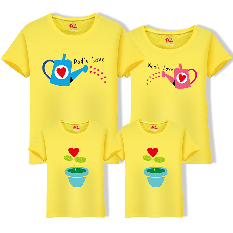 HTB1mcswn1GSBuNjSspbq6AiipXaY - Matching Family Clothing 1 piece Family Cultivate Love Summer Short-sleeve T-shirt Outfits For Mother Daughter And Father Son