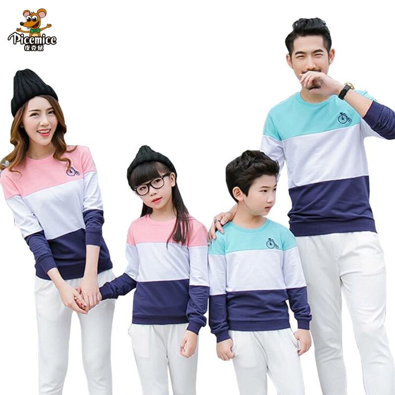 Family Matching Outfits Mom Dad Baby Stripe Long Sleeve