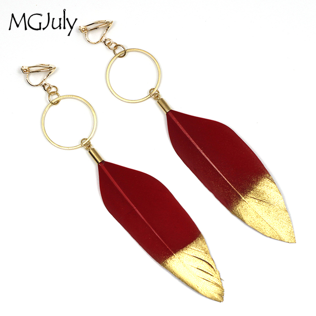 Red Feather Earrings No Hole Ear Clips Gilding Feathers Clip On