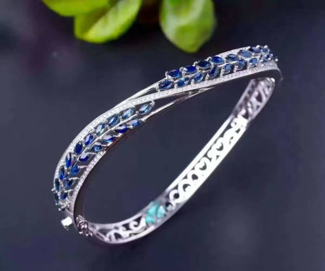 charms glass product luxury bracelets blue bangle style new diamond sterling austria bracelet jewelry bangles silver sapphire