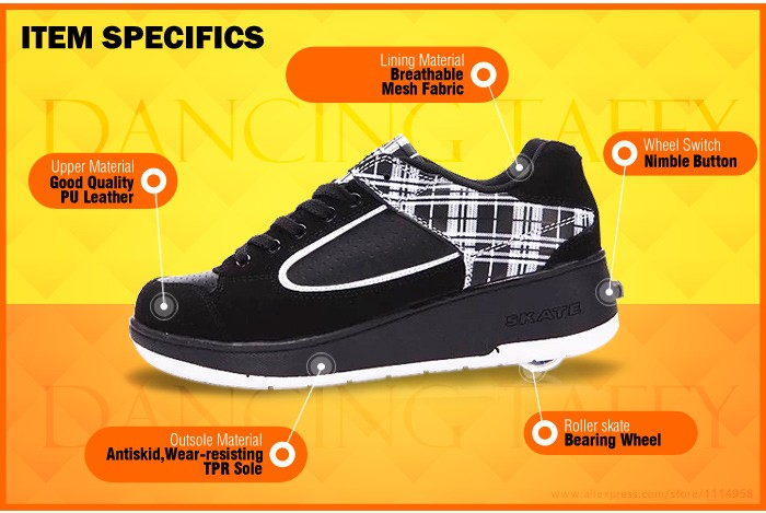 New Fasion Children Shoes With Wheels Girls Boys Roller Skate Shoes For Kids Sneakers With Wheels Wheelies Shoes Eu Size 29-40 DTW001 (3)
