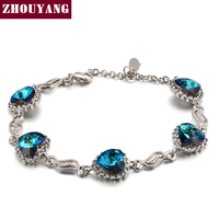 Classic Design Heart of Ocean Silver Color Fashion Party Charm Bracelets & Bangles Jewelry Wholesale Top Quality ZYH115