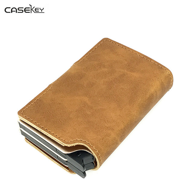 bd3baecda26e US $29.33 45% OFF|CaseKey Credit Cards Holder Slim RFID Protector Wallets  Men Women PU Leather Metal Case ID Card Bag Automatic Cardholder Gift-in ...