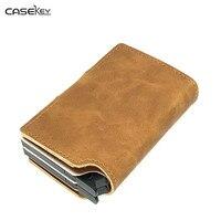 CaseKey Credit Cards Holder Slim RFID Protector Wallets Men Women PU Leather Metal Case ID Card