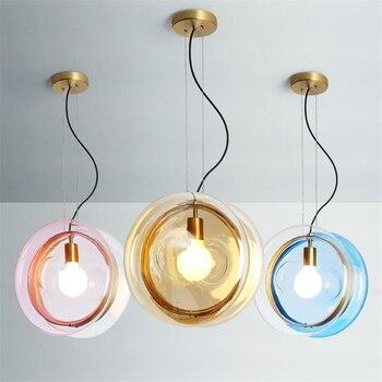 Nordique coloré boule de verre pendentif lumières personnalité créative Designer Suspension Luminaire chambre café cuisine maison déco lampe