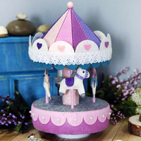 Free Cutting Rainbow Carousel Music Box Gift Handmade Non Woven Cloth DIY Materials Package