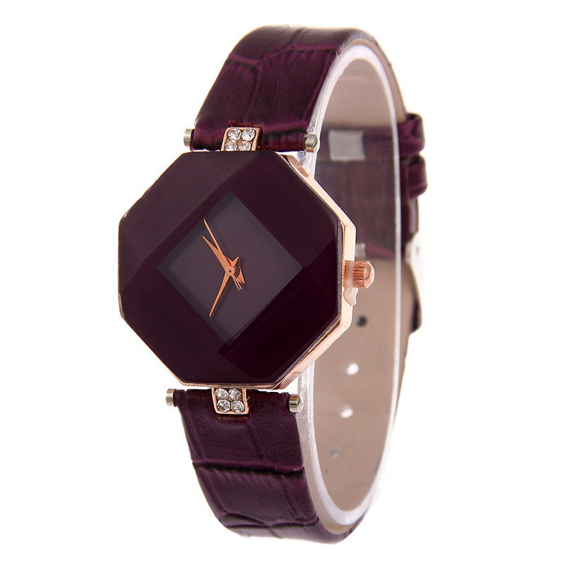 high-quality 2017 new 5color jewelry watch fashion gift table women Watches Jewel gem cut black geometry quartz wristwatches 7
