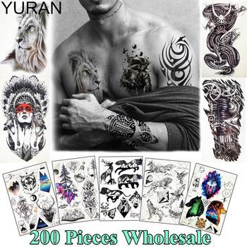 YURAN 200 pieces Wholesale Galaxy Tattoo Temporary Body Art Tatoo Tribal Lion Tiger Sticker For Men Women Fake Arm Chest Tattoos