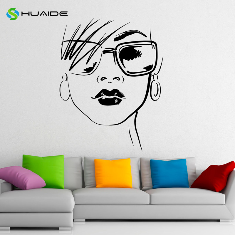 Fashion Glasses Wall Decal Vinyl Stickers Beautiful Sexy