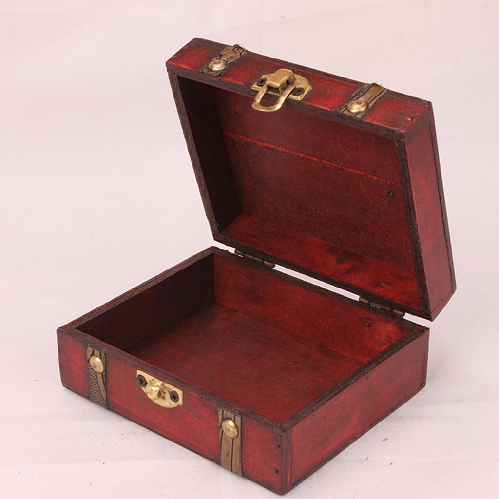 New Decorative Trinket Jewelry Lock Chest Handmade Wooden Storage Box with lock