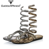 CuddlyIIPanda 2019 Summer Cool Snake Pattern Women Slippers Rhinestone Luxury Design Diamond Flip Flops Rome Gladiator Sandals