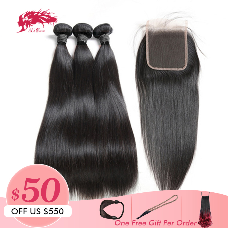 Ali Queen Hair Products Peruvian Straight Human Hair 3 Bundles With Swiss Lace Closure Free Part Remy Hair Bundles With Closure