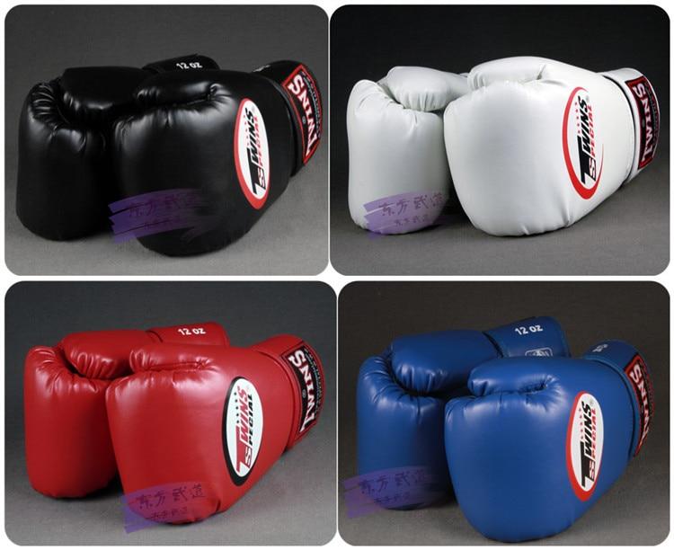 Twins Gloves Kick Boxing Gloves Leather PU Sanda Sandbag Training Black Boxing Gloves 8 10 12 14 oz Men Women Guantes Muay Thai цены онлайн