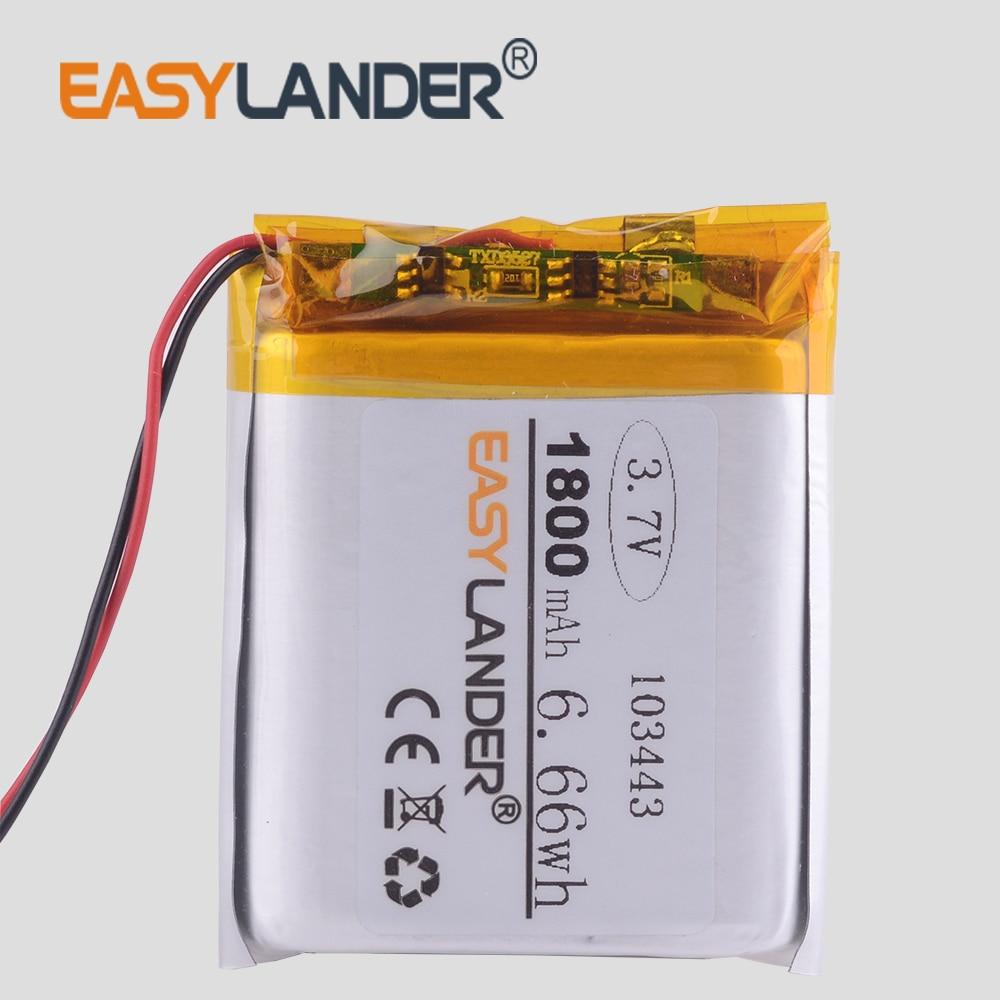 3.7V lithium polymère batterie 103443 1800MAH GPS navigateur Radio voiture dvr radio TD-V26 JH-MD07D