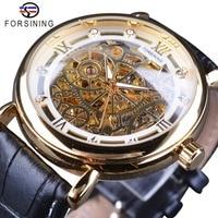 Forsining Retro Classic White Gold Roman Luxury Genuine Leather Men Mechanical Skeleton Watches Top Brand Luxury