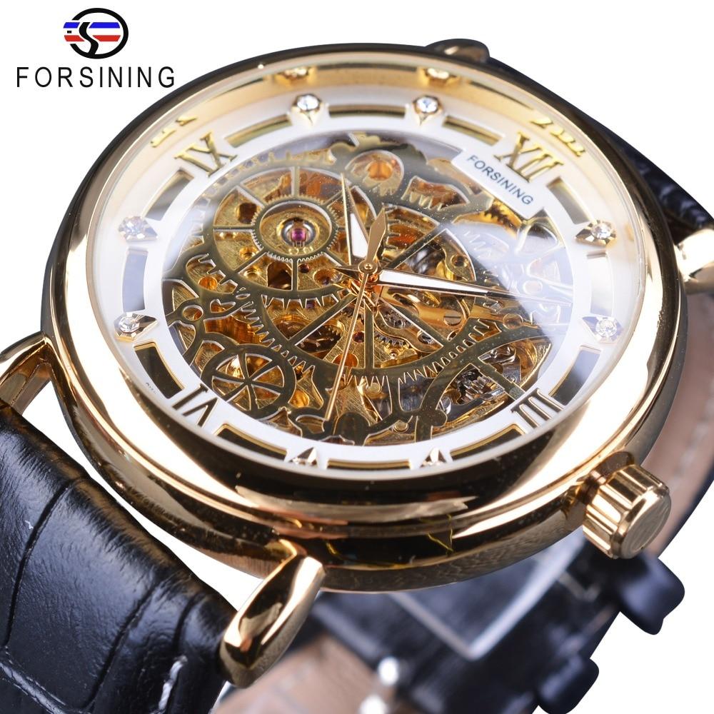 Forsining Retro Classic White Gold Roman Luxury Genuine Leather Men Mechanical Skeleton Watches Top Brand Luxury Casual Watches lonex classic retro white белоснежная