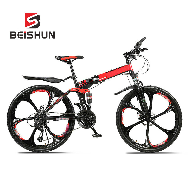 Folding Mountain Bike Bicycle 21-30 Speed Double Shock Absorption Integrated Wheel Cross Country Mountain Bike