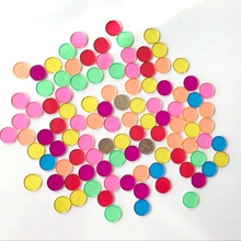 100pcs/bag 7 Colors Amazing Transparent Round Sheet Tiles  Baby Toys for Counting With Montessori educational Learning Aid Toys