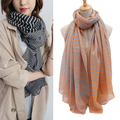 2017 new fashion women's designer Striped scarf hot sale winter cotton scarf ladies stoles soft warm shawls