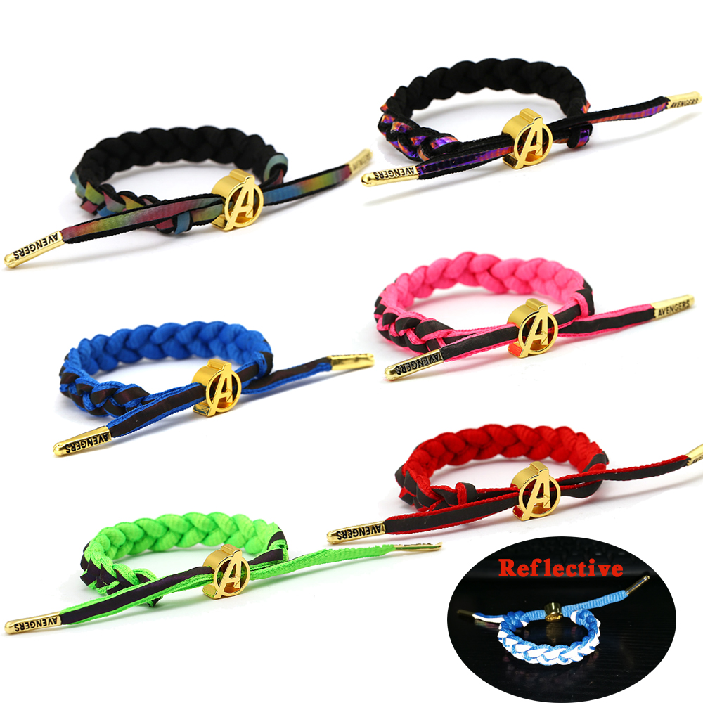 Avengers Captain Marvel Reflective Tape Bracelets Adjustable Braided Bracelet Men Reflect Light Weave Shoelace Lovers Wristband