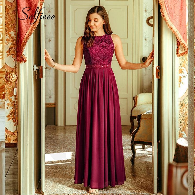 New Woman Dress Elegant Evening Robe Longue A Line O Neck Beaded Lace Party Dresses Floor Length Long Chiffon Formal Dress 2020 4