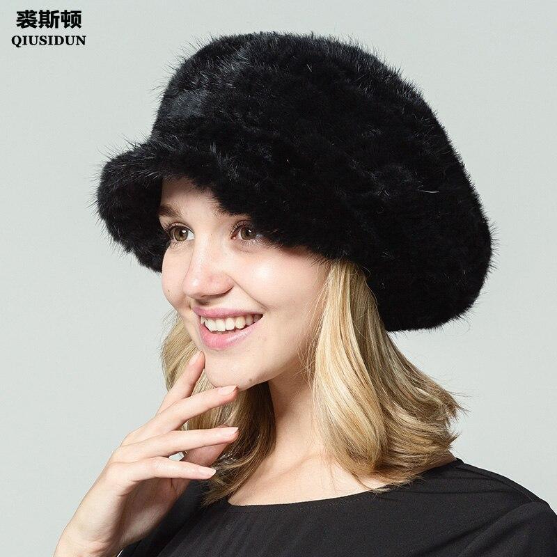 QIUSIDUN Real Knitted Mink Fur Hat Casual Female Cap Women Hats Winter  2017 Female Sex Russian Fur Caps Fashion Casquette